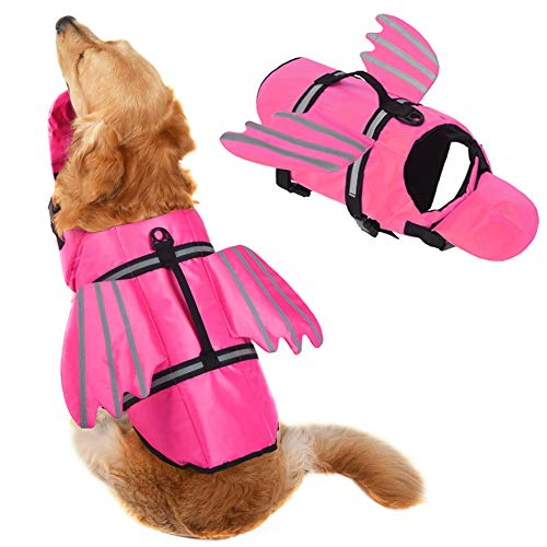 Fragralley Dog Life Jacket, Unique Angel Wings Pet Puppy Life Vest for Large L Size Dogs, Dog Lifesaver Preserver with Handle&Reflective, for Swim, Pool, Beach, Boating