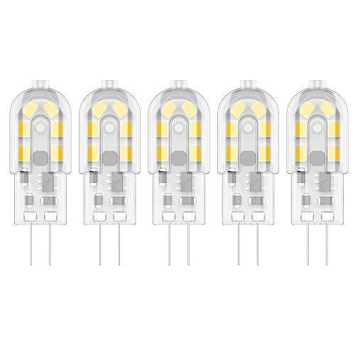 5X G4 2W LED Leuchtmittel Warmweiß 3000K LED Lampen 12 SMD 2835LEDs Energie Sparen 200LM LED Birnen Äquivalent zu 20W Halogen AC/DC12V