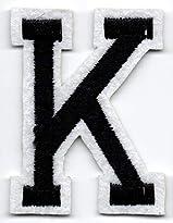 K – Buchstabe; Aufnäher/Patch mit Bügel-Klebe-Fläche zum fixieren