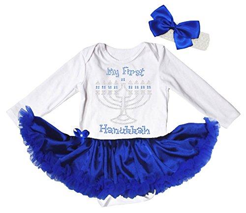 Petitebella My 1st Hanukkah White L/s Bodysuit Royal Blue Tutu Baby Dress Nb-18m (6-12month)