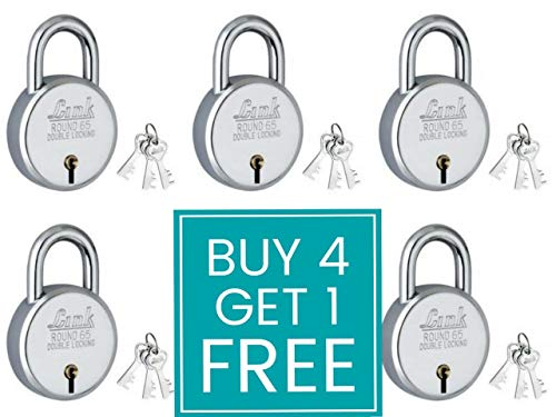Link Locks Round 65MM_Double Locking Technology with 3 Keys are not Interchangeable Security Ensured Padlock (Silver, Pack of 4) Get 1 Free Made in Aligarh.