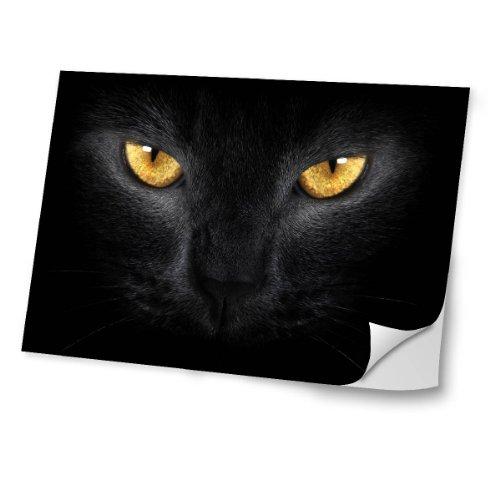 """Virano Katzen 10034, Schwarze Katze, Skin-Aufkleber Folie Sticker Laptop Vinyl Designfolie Decal mit Ledernachbildung Laminat und Farbig Design für Laptop 17\"""""""