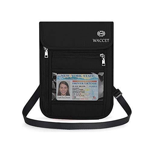 WACCET Portadocumentos de Cuello Protección RFID Portadocumentos de Viaje Unisex con Bolsillos de Cremallera, Colgante Cartera de Viaje para Documentos Tarjetas de Crédito Monedas (Negro)