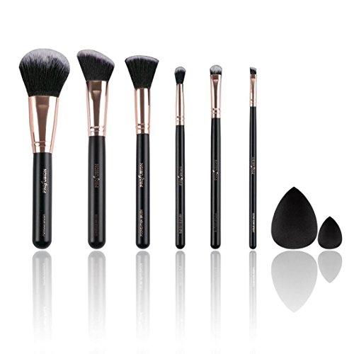 Profusion Cosmetics - Professionnel Brush Vault, 8pcs Pro Series Rose Gold Brush & Sponge Set