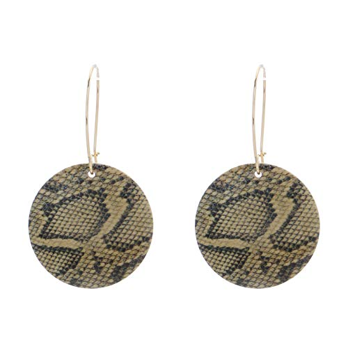 XJJ Earrings For Women,Personality Chic Snakeskin Pattern Wooden Jewelry Vintage Fashion Bohemian Style Round Light Weight Earrings For Women Party Birthday Wedding Accessories,Khkai