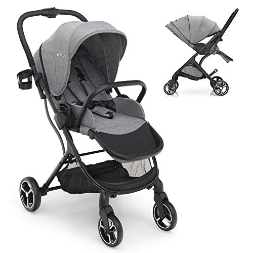 BABY JOY Baby Stroller, Front Rear Facing Toddler Carriage w/Convertible Seat, Cup Holder, 5-Point Harness, Adjustable Handle/Canopy/Backrest, Storage Basket, One-Step Brake Foldable Stroller (Gray)