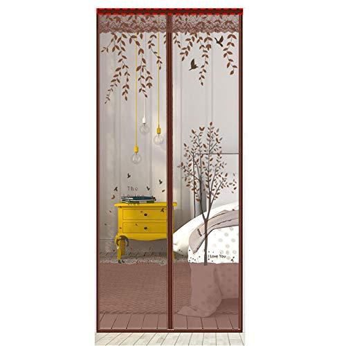 Patrón De Árbol Marrón Mosquitera Puerta Enrollable 120x220cm / 47x86inches Mosquiteras Extensible Mantenga los insectos fuera de la pantalla de la puerta del mosquito, sellado de arriba a abajo auto