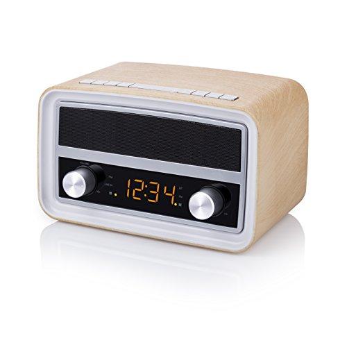 AudioSonic Retro Radio mit Uhr- und Weckerfunktion - AUX-in und USB-Anschlüsse/ Bluetooth, RD-1535