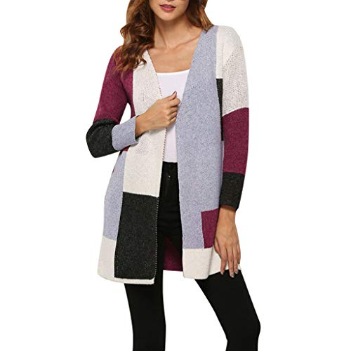 Lowest Prices! HNTDG Women Boho Colorblock Long Sleeve Commuter Cardigan Sweater Large Size Open Fro...