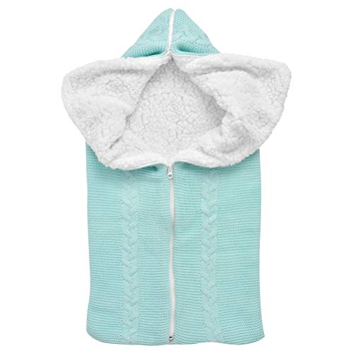 THETHO Manta de Cochecito de Bebé Cálida Saco de Dormir para Bebé Recién Nacido Manta Universal Envolvente con Cremallera para Bebé Niños para Cochecito (Azul)