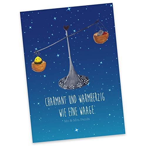 Mr. & Mrs. Panda Einladung, Karte, Postkarte Sternzeichen Waage mit Spruch - Farbe Sternenhimmel Blau
