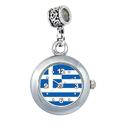 Timest - Griechenland Länder Flaggen Uhr für Armbänder und Ketten Rund Analog Quarz EBA0273