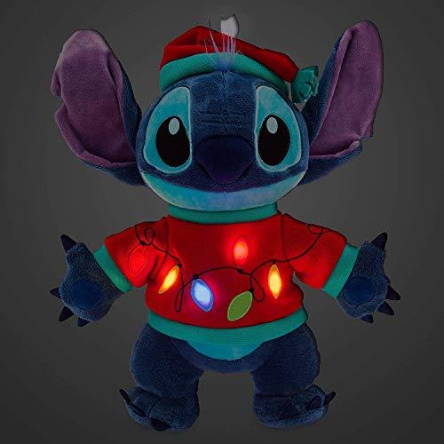 Disney Store Stitch Peluche Mediano con Luz 38cm - Holiday Cheer Colección