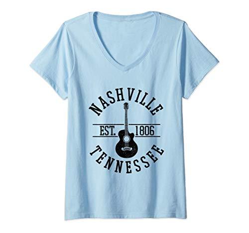 Damen Nashville Tennessee USA Country Musik Gitarre Geschenk T-Shirt mit V-Ausschnitt