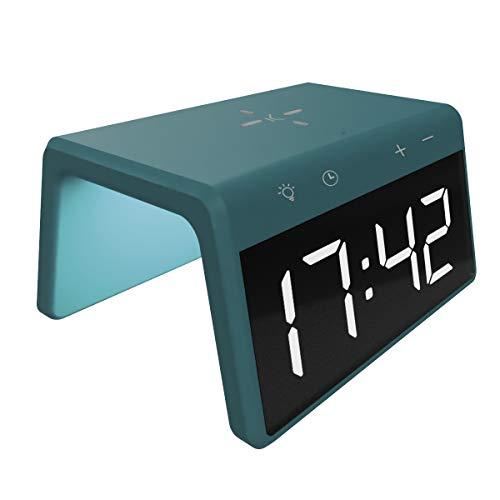 Ksix Cargador INALAMBRICO Fast Charging Despertador SOBREMESA LUZ Colores 10W (Verde)