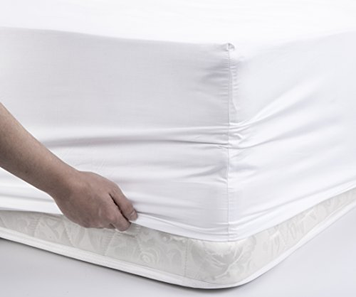 "MILDLY 100% Egyptian Cotton White Fitted Sheet Soft Sateen Weave Bed Sheet with 16"" Extra Deep Pocket and Elastic All Round, Full Size 54""x75"""
