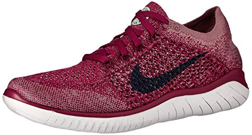 Nike Free RN Flyknit 2018 Women's Running Shoe Raspberry RED/Blue Void-White-Teal Tint 7.5