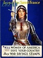 ERZANノスタルジックなデザインが人気のブリキ看板1915年ジャンヌダルク第一次世界大戦アメリカの愛国的な戦時中の広告壁の装飾牌20x30cm