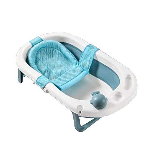 FCDWHJ Faltbare Babywanne, Ergonomische Babybadewanne,Badewanne für Babies,mit Sicherheitsbadesitz babybadewanne, Kunststoff,Blau