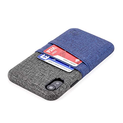 Dockem iPhone XR Wallet Case: Built-in Metal Plate for Magnetic Mounting & 2 Credit Card Holder Slots (6.1' Luxe M2 Synthetic Leather, Blue & Grey)