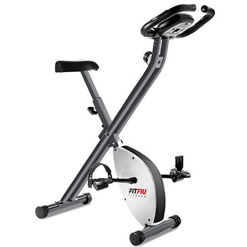 FITFIU Fitness BEST-200 Bicicleta Estática plegable con freno magnético, Pulsómetro y disco de inercia de 8kg regulable a 8 niveles de esfuerzo, Entrenamiento cardio y fitness