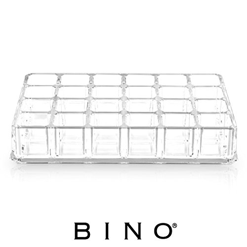 BINO 'Lipstick Junkie' 24 Compartment Acrylic Lipstick Organizer, Clear and Transparent Cosmetic Beauty Vanity Holder Storage
