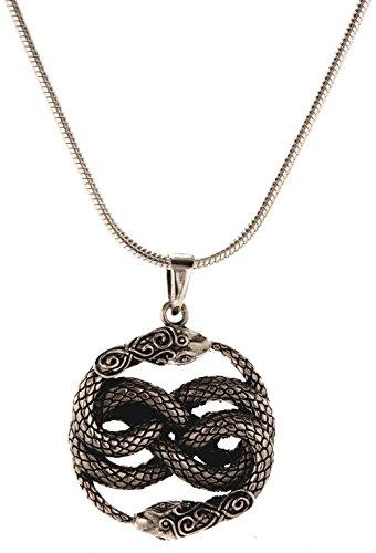 Kiss of Leather Schlangen Anhänger aus 925 Sterling Silber mit Silberkette 2 mm (45)