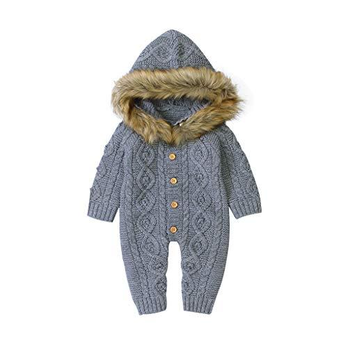 DWQuee ❤️ Baby-Winter-Warmer gestrickter Spielanzug, Baby-Mädchen-Strickjacke mit Kapuze Stricken Kunstpelzkragen-Overall-Kleidung (0-18 Monate)