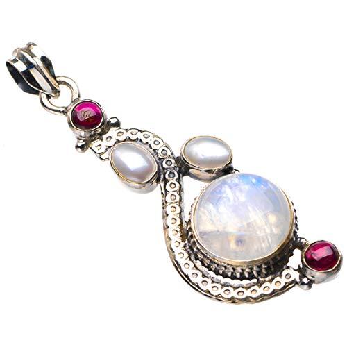 StarGems Colgante de plata de ley 925 de 5,7 cm D5730 con piedra lunar arco iris natural, perla de río y amatista, hecho a mano