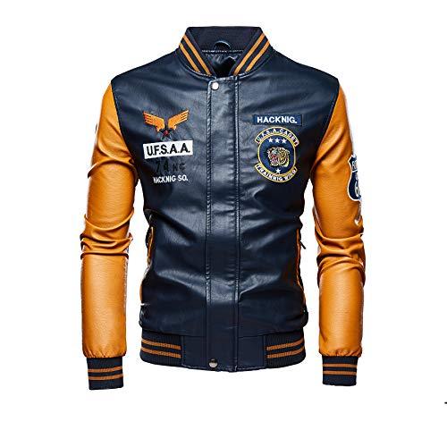 FTIMILD Men's Baseball Varsity Jackets Faux Leather Casual Flight Bomber Jacket Fashion Coat Navy Yellow