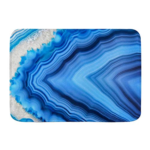 BCVHGD Alfombrillas para baño, Mineral Increíble Ágata Azul Cristal Mineralogía Sección Naturaleza Roca Gema Piedra de Cuarzo,con Respaldo Antideslizante,29.5'X17.5'
