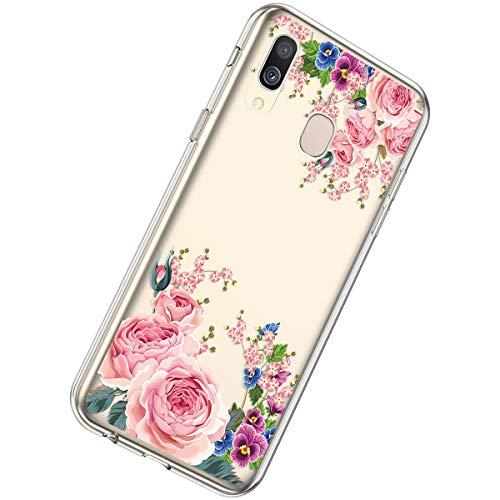Herbests Kompatibel mit Samsung Galaxy A20 / A30 Hülle Silikon Weich TPU Handyhülle Durchsichtige Schutzhülle Niedlich Muster Transparent Ultradünn Kristall Klar Handyhülle,Rot Rose