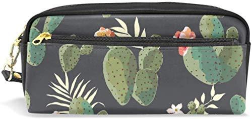 RGFDF Bleistiftetui Niedliche Kaktus-Tropenpflanzen Schwarz Stifttasche mit großer Kapazität Multifunktionaler Briefpapierbeutel Stationäres Etui Make-up-Kosmetiktasche