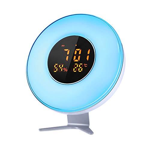 Reloj Despertador CrazyFire Sunrise, Despertar la luz con Monitor de Temperatura/Humedad, función de repetición, 10 Brillo, Interruptor de 6 Colores, Despertador para dormitorios, Fiestas, Festivales