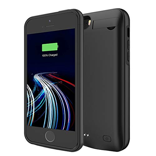 Battery Case for iPhone 5/5S/SE, 4500mAh Portable Rechargeable Battery Pack Charger Case Compatible with iPhone 5/5S/SE Extended Charging Case Protective Power Bank Backup Cover (Black)