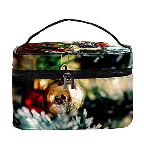 Bolsas de maquillaje para mujeres y nis Estuche organizador de cosmicos de mano bolsa portil de viaje bolsa de aseo de Navidad escaleras velas, Multicolor 6 Neceser
