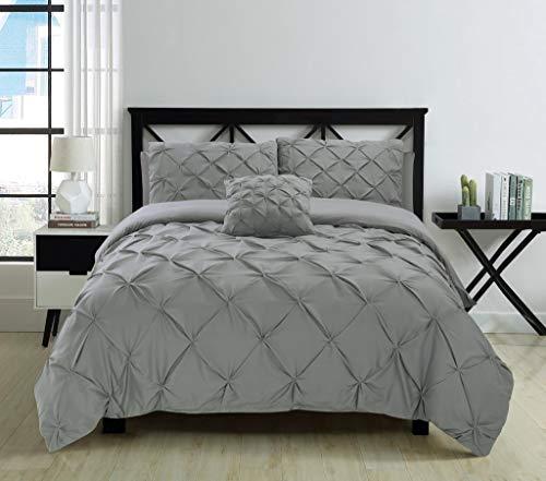 Fixtex Bettbezug-Set mit Spannbetttuch & Kissenbezügen, mit Zierfalten, Biesen, 5-teiliges Set (Silber, King-Size)