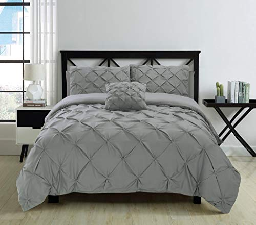Fixtex Pinch Pleat Pintuck Duvet Cover Set with Fitted Sheet & Pillow Cases Includes Complementary Cushion Cover – Set of 5 (Silver, King)