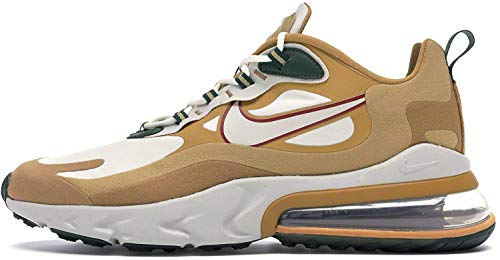 Nike Mens Air Max 270 React Running Shoes  Club Gold / Flat Gold-wheat-light Bone  11.5