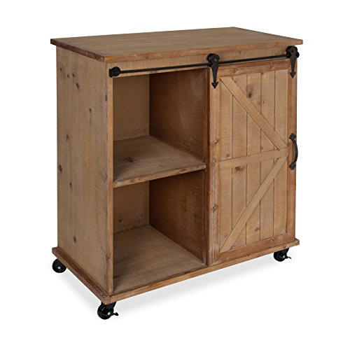 Kate and Laurel Cates Multi-Purpose Wooden Rolling Kitchen Cart Storage Cabinet with Sliding Barn Door, Rustic Wood Finish