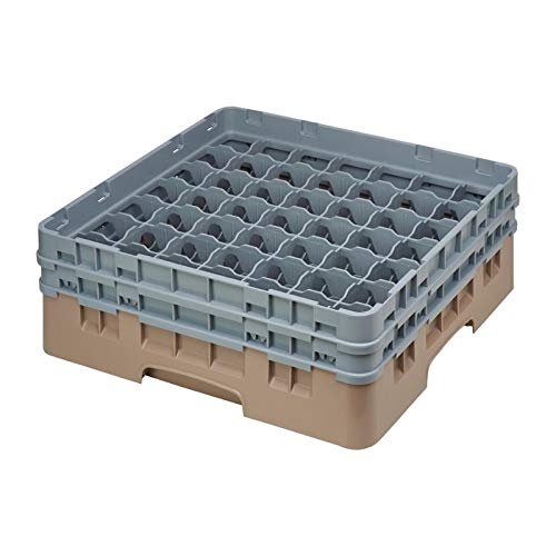 Casier à Verres 49 Compartiments Beige - Hauteur de 143 à 349 mm - Camrack Cambro - Polypropylène 500(L) x 500(P) x 308(H) mm