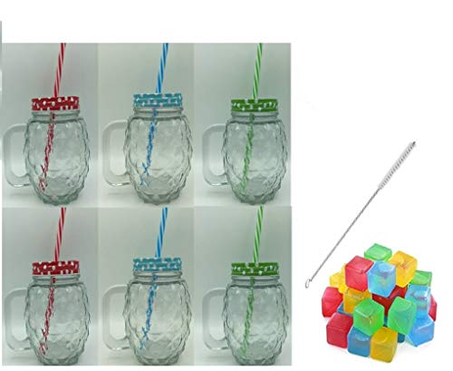 ML Pack 6 jarras Cristal Relieve piña con Tapa asa y Pajita...