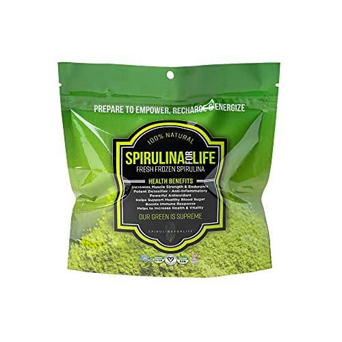 Spirulina 14 Stick Pack 14 Day Supply Spirulina Live Flash Frozen 100% Pure Grown in Alkaline Water Grown, Harvested and Frozen in The USA Most Complete Super Food and Natural Multivitamin