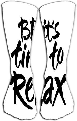 """Calcetines-Mujeres Hombres Algodón de lujo Coloridos Calcetines divertidos y divertidos 19.7""""(50cm) tipografía letras frase relajarse aislado blanco divertido caligrafía tarjeta de felicitación"""