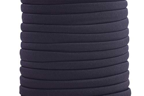KONMAY 1 Roll 20 Yards 5.0mm Flat Skinny Elastic Cord Stitched Stretchy Lycra Cord (Black)