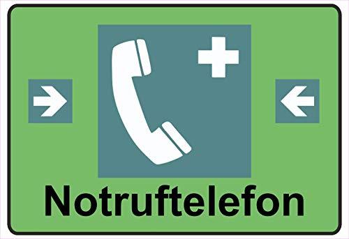 Netspares 138774345 Schild Hinweisschild Hinweis Notruftelefon Notruf telefon SOS Gefahr Vorsicht