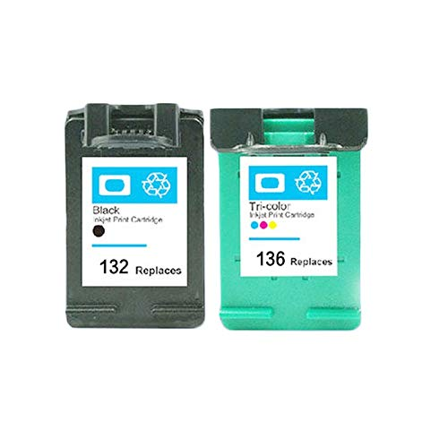 KEHUITONG Compatible Cartuchos de Tinta for HP132 for HP 132 136 Photosmart 2573 C3183 D5163 Officejet 6213 5443 D4163 PSC 1513 1513s