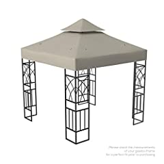 This is a 10x10 canopy replacement top only, the frame is not included Weather and water-resistant extra tough 250g polyester fabric with PVC coating Reinforced velcro straps to attach and remove the gazebo canopy cover quickly and easily Dimensions:...