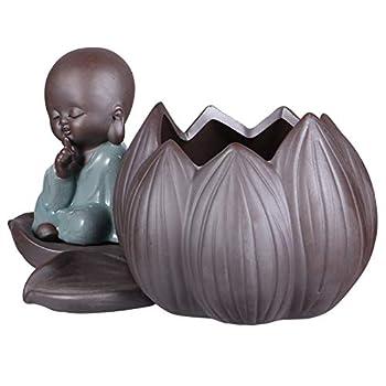 Yardwe Ceramic Buddha Planter Zen Monk Statue Plant Pot Holder Zen Garden Figure Ornament Pencil Cup Brush Holder Pot for Home Office Room Decor