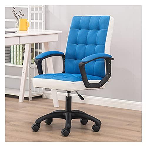 VIVIANSHOP Silla ergonómica de oficina de piel con apoyabrazos moderno ejecutivo para ordenador de escritorio y silla, color azul